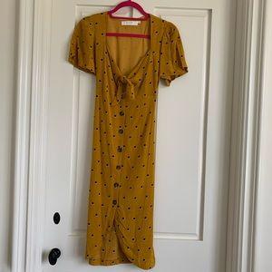 ASTR Mustard Polka Dot Dress
